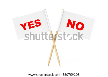 Mini Paper Pointer Flags with Yes and No Signs on a white background. 3d Rendering.