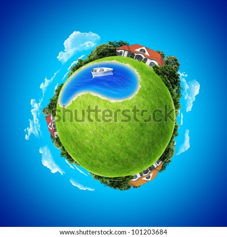 Mini planet concept. Boat in center of the pond between three villages. Countryside concept. Earth collection.