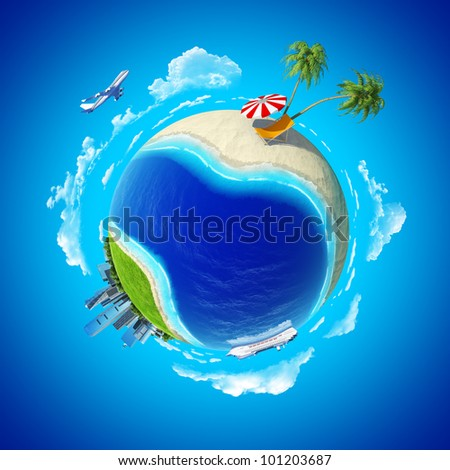Mini planet concept. City center and tropical beach on the opposite sides. Travel and business concept. Earth collection.