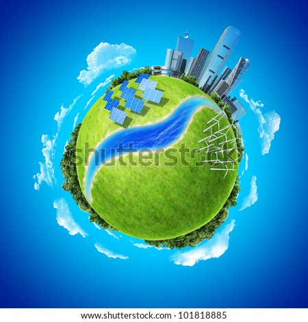Mini planet concept. City, ocean, forest, wind turbines, solar batteries, river and fresh green field. Earth collection.