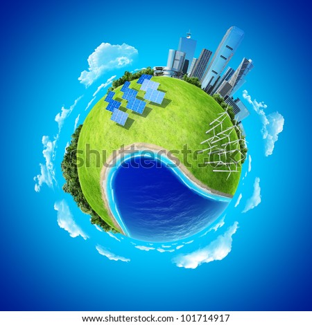 Mini planet concept. City, ocean, forest, wind turbines, solar batteries, sea coast and fresh green field. Earth collection.