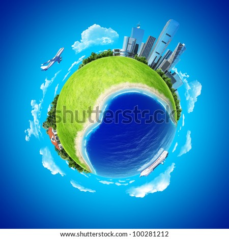 Mini planet concept. City, ocean with cruise liner, countryside house and fresh green field. Earth collection.