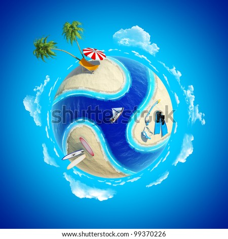 Mini planet concept. Hot tropical sand beach with palms, chair and sun umbrella, diver equipment, surfboards, ocean with yacht. Travel / tourism concept. Earth collection.