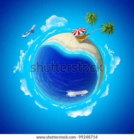 Mini planet concept. Hot tropical sand beach with palms, chaise longue and sun umbrella, ocean with cruise liner and aircraft in the sky. Travel / tourism concept. Earth collection.