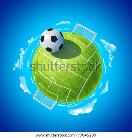 Mini planet concept. Soccer stadium with hyperbolic ball. Football championship concept. Earth collection.