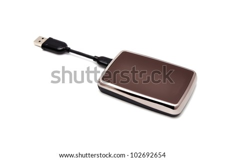 mini  portable hdd  on white background