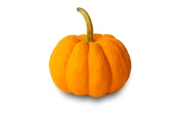 Mini pumpkin yellow, Fresh organic pumpkin isolated on white background and clipping path