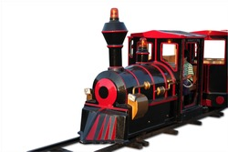 Mini Retro Train on park isolated. Including clipping path