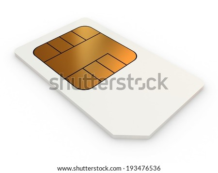Mini-SIM card, close-up on a white background.