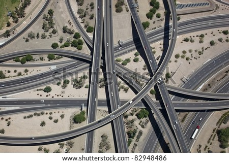 Mini stack interchange aerial from above