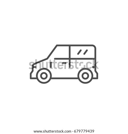 Mini van line icon isolated on white