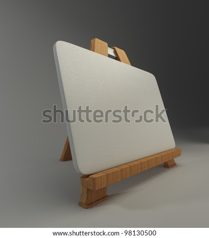 Mini wooden easel with blank canvas 3d