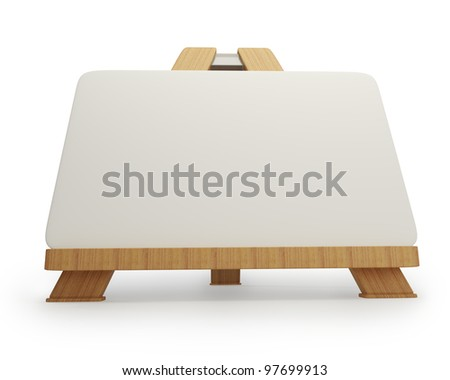 Mini wooden easel with blank canvas isolated on white background high resolution 3d