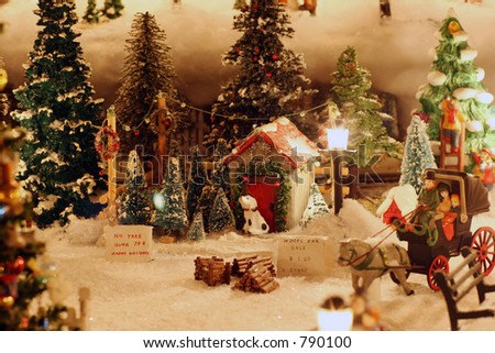 Miniature Christmas Village Tree Lot