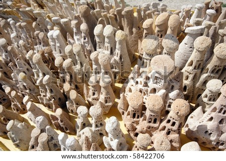 Miniature fairy chimneys in Cappadocia, Turkey - stock photo