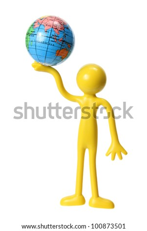 Miniature Figure with Globe on White Background