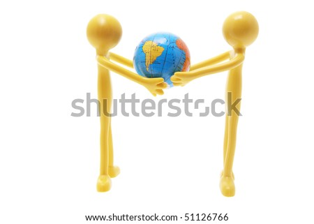 Miniature Figures and Globe on White Background