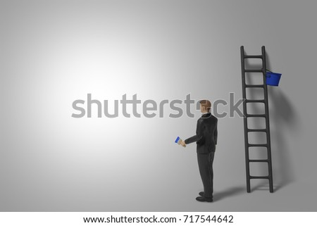 miniature figurine businessman character with ladder and blue paint in front of a bright lit wall