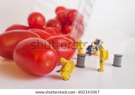 Miniature figurine hazmat team inspection of gmo food #602161067
