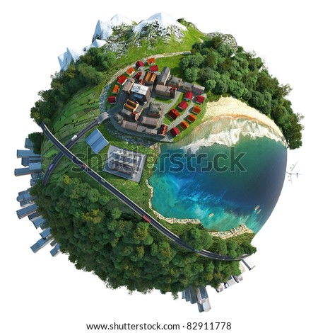 miniature globe showing various landscapes like mountain, beach, ocean, town, city, woods and also transports and communications. Isolated on white