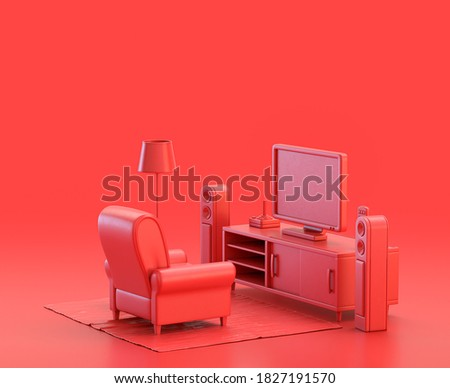 miniature living room with tv and sofa in red background, monochrome single color red 3d Icon, 3d rendering