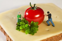 Miniature model figurines preparing a fresh cheese sandwich with herbs and tomato.