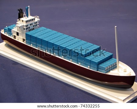 Miniature model of a ship. Model of a tanker ship.