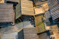 Miniature model of the peasant settlement of an ancient Russian wooden village