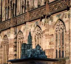 Miniature model of the Strasbourg Cathedral, made of bronze. Installed on the cathedral square. France