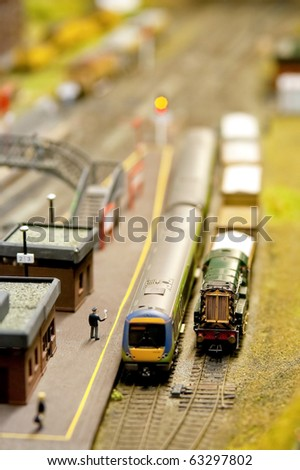 miniature model train station with shallow d.o.f
