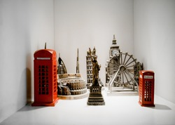 Miniature of iconic monument, building and statue in the world made by metal bronze for home artwork decorative