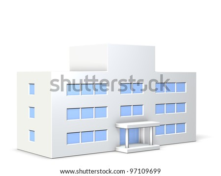 Miniature  of school, This is a computer generated image,on white background.