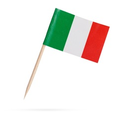 Miniature paper flag Italy. Isolated Italian flag pointer on white background. With shadow below