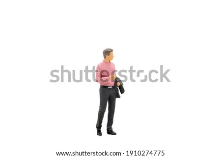 Miniature people Businessman standing isolated on white background with clipping path Foto stock ©