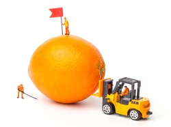 Miniature people. Miniature worker on top of an orange. Close-up view.