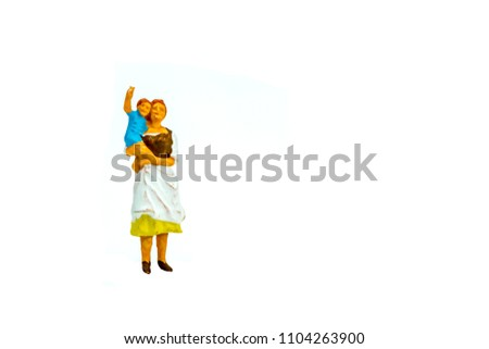 Miniature people office, worker, and farming concept in variety action on white background with space for text #1104263900