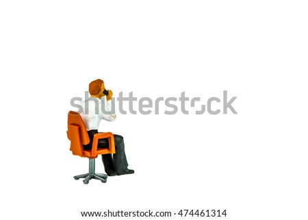 Miniature people office, worker and traveler concept on white background with space for text