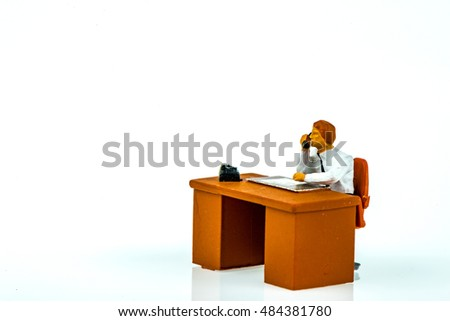 Miniature people office, worker, engineer worker, construction and traveler concept in variety action on white background with space for text
