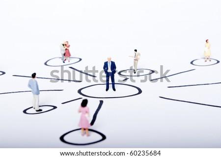miniature people on plan