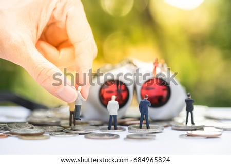 Miniature people: the recruiter sitting on top of binoculars for finding the candidates below, recruitment process, HR, HRM, HRD concepts.