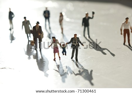miniature people with family