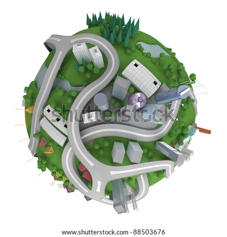 Miniature planet. Various landscapes like mountain, beach, ocean, town, city, woods and also transports and communications. Isolated on white