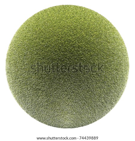 Miniature planet with clear thick grass lawn vegetation, isolated on white