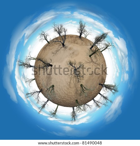 Miniature planet with leafless trees in desert and atmosphere with clouds