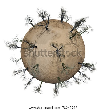 Miniature planet with leafless trees in desert, isolated on white