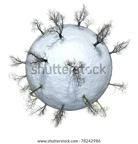 Miniature planet with leafless trees in the winter-time, isolated on white