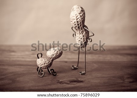 Miniature Still-Life with Peanut Man and Dog
