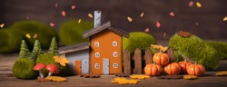 Miniature Thanksgiving Day little fairy autumn cottages, pumpkins, copyspace, wooden background, postcard concept, toned