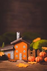 Miniature Thanksgiving Day little fairy autumn cottages, pumpkins, wooden background, postcard concept, toned