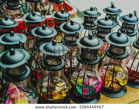 Miniature traditional Lamp filled wirh colored wax - Eye soothing art work